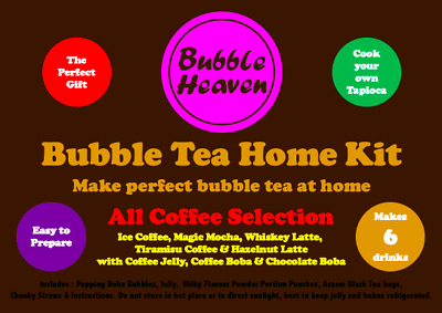 £15.99 • Buy Boba & Jelly Bubble Tea Make At Home Kit Makes 6 All Coffee Selection Drinks