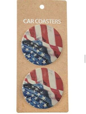 New American Flag Ceramic Car Coasters Red White & Blue Coasters Patriotic • 12.22£