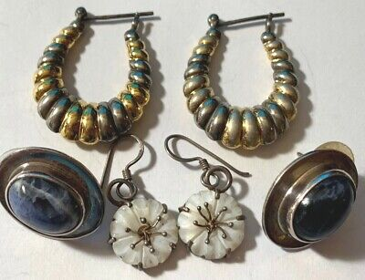 $ CDN50.46 • Buy Vintage Sterling Silver Earring Lot - Signed Pieces: BJ, MEXICO, 925 SS-256