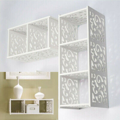 Modern White Cube Floating Shelf Display Storage Unit WPC Wooden Cubes Shelves • 8.99£