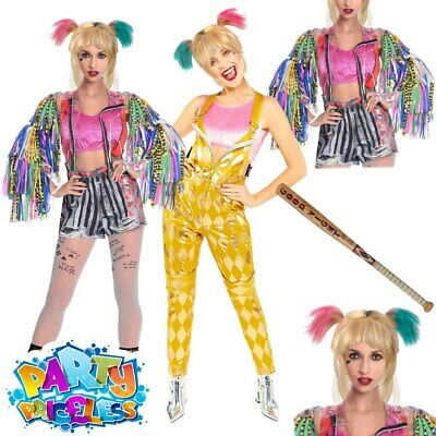 Adult Ladies Harley Quinn Bird Of Prey Costume Wig Bat Book Day Week Fancy Dress • 29.99£