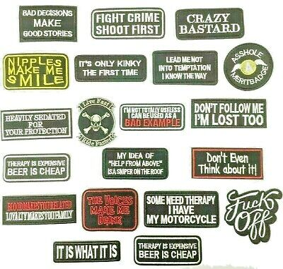 Biker Embroidered Sew On Iron On Patches - Various Designs - UK Company • 2.95£