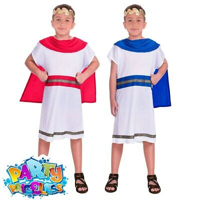 Kids Boys Caesar Costume Roman Toga Greek World Book Day Fancy Dress Outfit • 6.99£