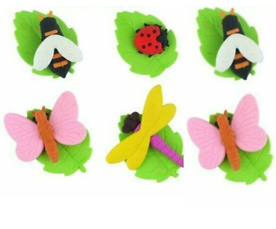 6 X INSECT BUG  Erasers Rubbers Girls Kids Party Bag Fillers School Stationery • 2.39£