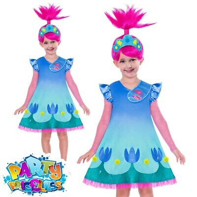 Child Trolls Movie 2 Poppy Costume Girls Doll World Book Day Fancy Dress Outfit • 16.49£