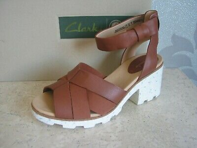 £29.99 • Buy New Clarks Rene Daisy Tan Brown Leather Comfy Wedge Sandals Uk Size 4 & 5.5 & 6