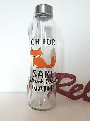 Fox Sake Drink Lunch Gym Novelty Glass Water Bottle Eco Friendly Personalised • 9.99£