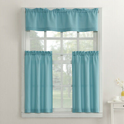 $14.89 • Buy SET OF 2-Mainstays Solid 3 Piece Kitchen Curtain Set-Mineral
