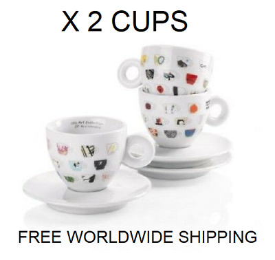 Illy Art Collection 25° Anniversary X 2 Cappuccino Cups + Saucers IPA Limited E. • 30.68£