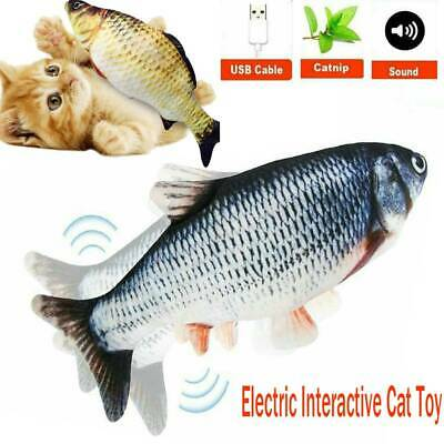 AU13.35 • Buy USB Electric Wagging Fish Cat Toy Or Kid Toy Realistic Plush Fish Catnip Mint AU