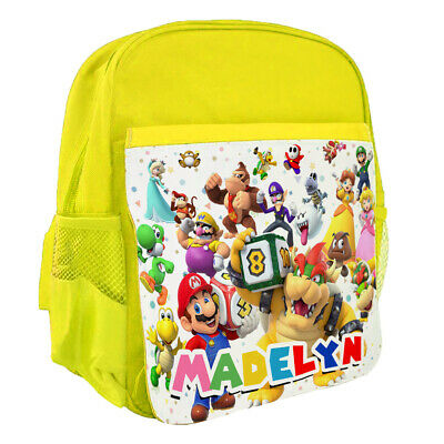 Personalised Kids Yellow Backpack Any Name Super Mario Childrens School Bag 130 • 14.95£