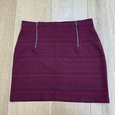 Hollister Red Burgundy Two Zip Skirt Size S/M - Top Shorts Jeans Leggings 8 M 10 • 0.55£