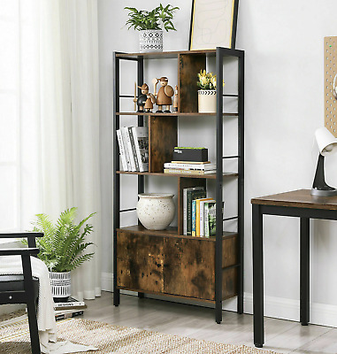 Large Industrial Bookcase Vintage Storage Unit Rustic Metal Cabinet Tall Display • 119.90£