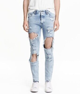 $55 • Buy HM Coachella Ripped Trashed Skinny Jeans Size 30x32 Fear Of God FOG H&M H & M