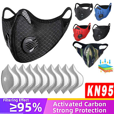 AU14.72 • Buy Reusable Sport Face Mask 3/4/5 Layer Filter Pad Replacement Face Shield Washable
