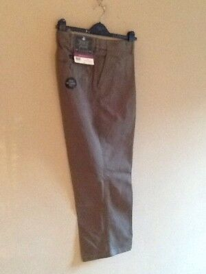 Mens Grey Smoke Chino Pleat Front Trousers By Atlantic Bay/bhs 34l Bnwt • 9.99£