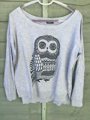 ROMAN Charming Grey Scoop Neck Owl Embellished Jumper - Size 12 • 7£