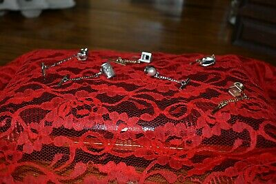 $5 • Buy Vintage Tie Pins With Chains Dante Silver And Gold Tone Pearl