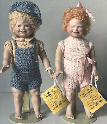 """$ CDN284.24 • Buy Lot Of 2 LE Of 50 Porcelain 9"""" Dolls Jack & Judy By Susan Dunham With Stand, COA"""