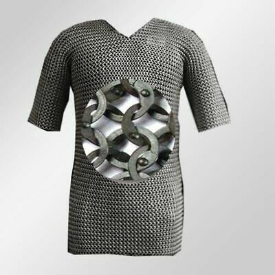 Medieval Stainless Steel Chainmail Shirt FLAT RIVETED Chain Mail Haubergeon • 188.90£