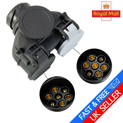 13pin To 7pin Socket Towing Plug Trailer Wiring Double Conversion Adapter • 9.69£