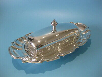 Lovely Large Vintage Silver Plate Regency Style Butter Dish With Glass Liner   • 24.95£