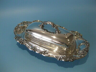 Very Nice Large Vintage Silver Plate Victorian Style Butter Dish & Glass Liner   • 22£
