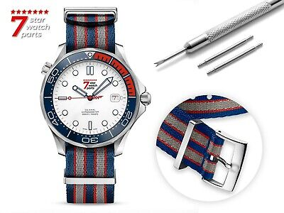 For OMEGA Watch Nylon NATO Blue/Grey/Red Strap Band Buckle Clasp James Bond 007 • 24.90£