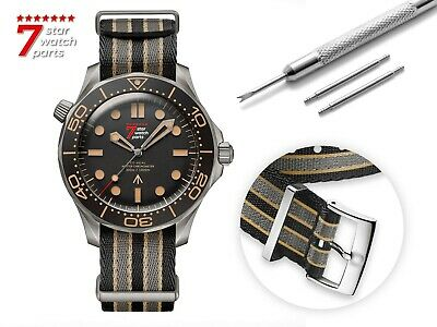 For OMEGA Watch Nylon NATO Black/Grey/Yellow Strap Band Buckle James Bond 007 • 24.90£