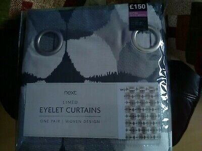 New Next Lined Eyelet Curtains 89 X 90 (rrp £150) • 40£