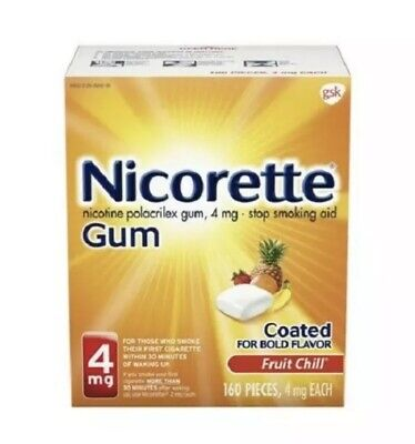 $ CDN80.23 • Buy Nicorette GUM 4mg Fruit Chill 160 Pieces Nicotine EXP 08/2022 Factory Sealed🔥
