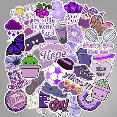 $6.45 • Buy 50pcs Cute VSCO Stickers For Hydro Flask For Teens (Purple) Usa Saler