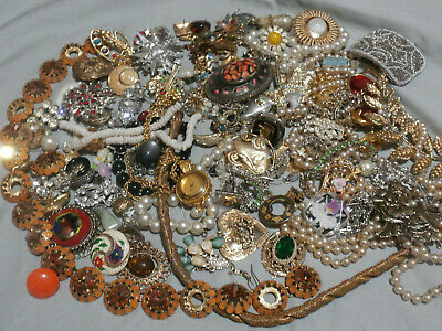 $ CDN124.28 • Buy Vintage Antique Jewelry Lot Rhinestones Glass Pieces Parts Repair Harvest Lbs #3