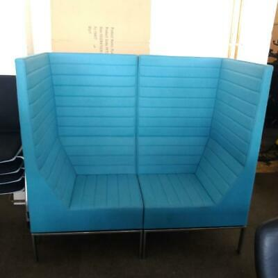 Second Hand Allermuir 2 Seater Booth Seating, High Back Sofa, Teal, L1400mm • 238.80£
