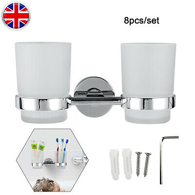 2pcs Chrome Tumbler With Toothbrush Holder Bathroom Accessory Wall-Mounted Tool • 10.44£