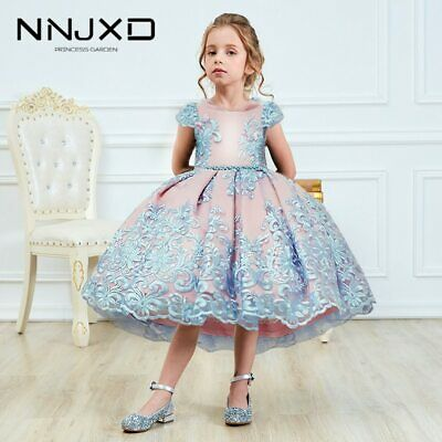 AU28.95 • Buy Girls Princess Kids Dresses For Girls Tutu Lace Flower Embroidered Ball Gown