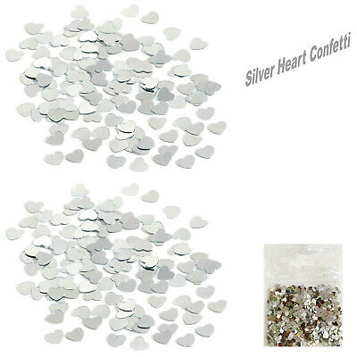 £2.98 • Buy 2* Silver Heart 14g Confetti For Table Decorations For Wedding, Valentine,Birthd