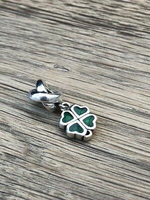 Pandora Sterling Silver 'Lucky Heart Four Leaf Clover' Discontinued Bead/Charm • 6£