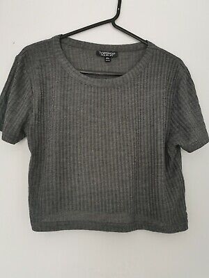 £4 • Buy Topshop Grey Ribbed Cropped Tee Size 10