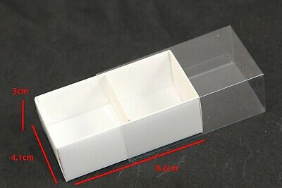 100 WHITE BOX CLEAR SLIDE ON LID 2 Compartments Gift Cookie Macaron Chocolate • 58.22£