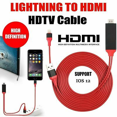 Lightning To HDMI TV Adapter Lead For Apple IPhone 11 X XR 8 7 6 Mirroring 1080p • 8.99£