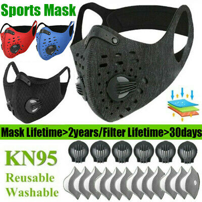 AU14.60 • Buy Sports Reusable Face Mask With Valve Activated Carbon Filter Pads Gasket Unisex
