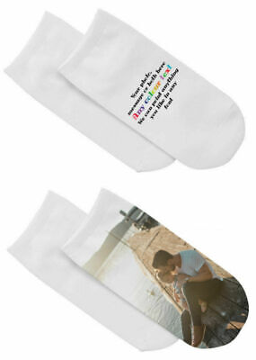 1 Pair Of Custom Ankle Socks Personalised  With Photo / Text Su227 • 8.99£