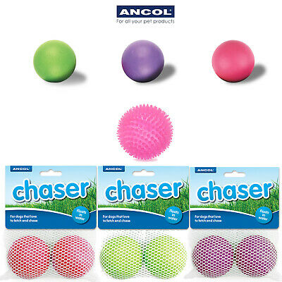 Ancol Chaser Dog Balls Ball Hard Rubber Floating Durable Spikey Knobbly Fetch • 5.49£
