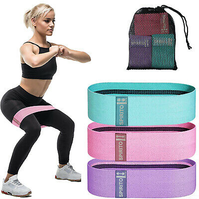 $ CDN10.87 • Buy Fabric Cloth Resistance Booty Bands Loop Set Of 3 Exercise Workout Gym Fitness