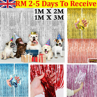 2M-3M Foil Fringe Tinsel Shimmer Curtain Door Wedding Birthday Party DECORATIONS • 4.39£
