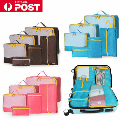 AU11.99 • Buy 6pcs Travel Packing Cubes Luggage Suitcase Storage Bags Clothes Organiser Cases