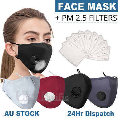 AU7.95 • Buy Washable Face Mask Anti Pollution  Masks Reusable Respirator PM 2.5 Filter