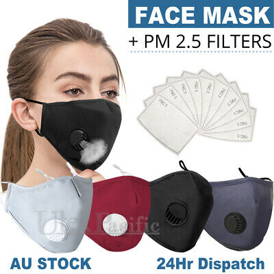 AU11.95 • Buy Washable Face Mask Anti Pollution  Masks Reusable Respirator PM 2.5 Filter