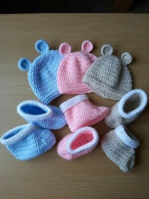Crochet Pattern Baby Bear Hat And Booties, Matching Set • 3.99£